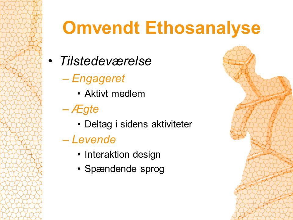 Omvendt Ethosanalyse Tilstedeværelse –Engageret Aktivt medlem –Ægte Deltag i sidens aktiviteter –Levende Interaktion design Spændende sprog