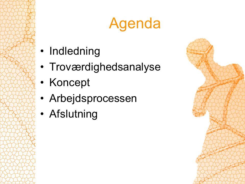Agenda Indledning Troværdighedsanalyse Koncept Arbejdsprocessen Afslutning