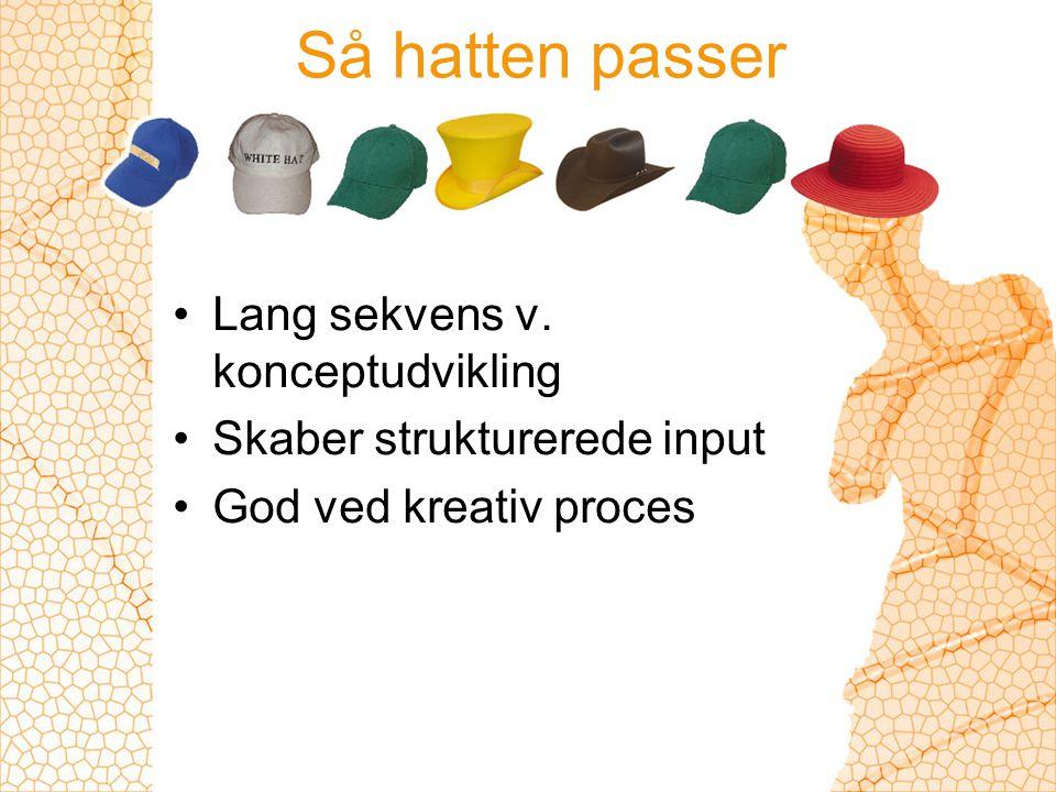 Så hatten passer Lang sekvens v. konceptudvikling Skaber strukturerede input God ved kreativ proces