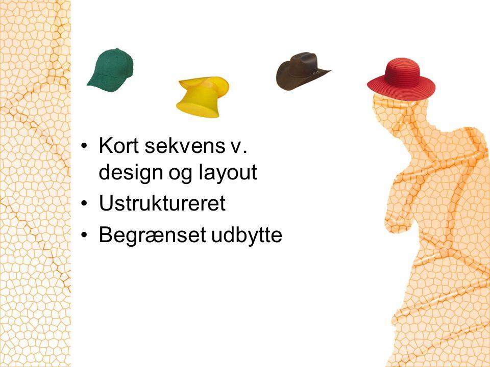 Kort sekvens v. design og layout Ustruktureret Begrænset udbytte