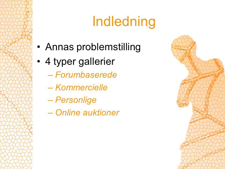 Indledning Annas problemstilling 4 typer gallerier –Forumbaserede –Kommercielle –Personlige –Online auktioner