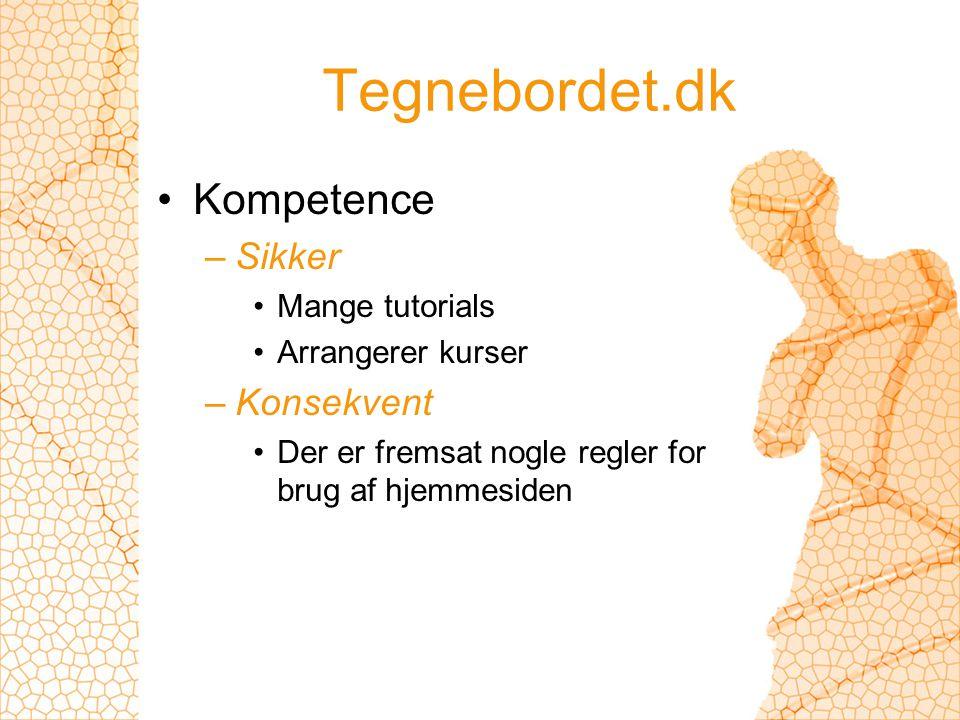 Tegnebordet.dk Kompetence –Sikker Mange tutorials Arrangerer kurser –Konsekvent Der er fremsat nogle regler for brug af hjemmesiden