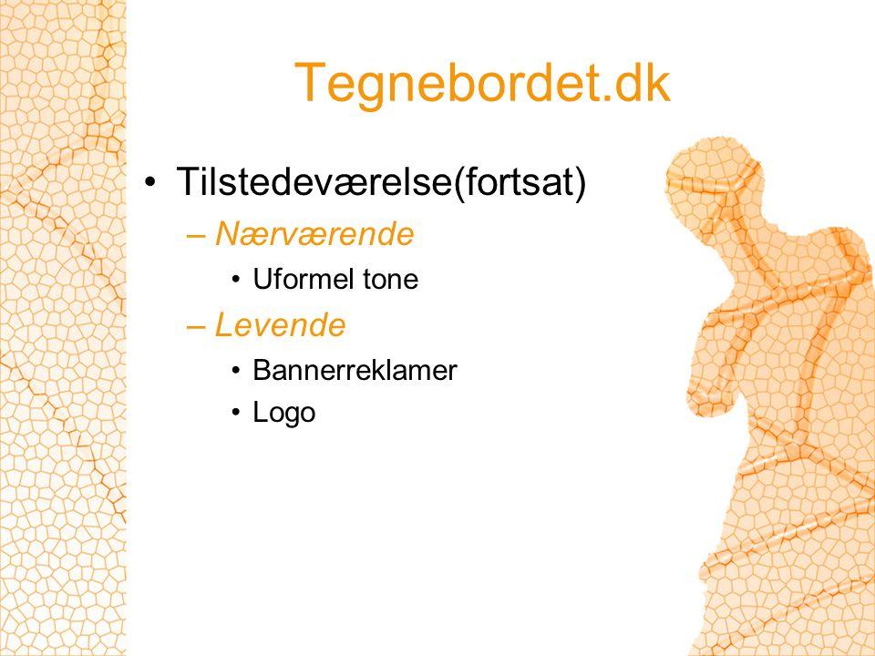 Tegnebordet.dk Tilstedeværelse(fortsat) –Nærværende Uformel tone –Levende Bannerreklamer Logo