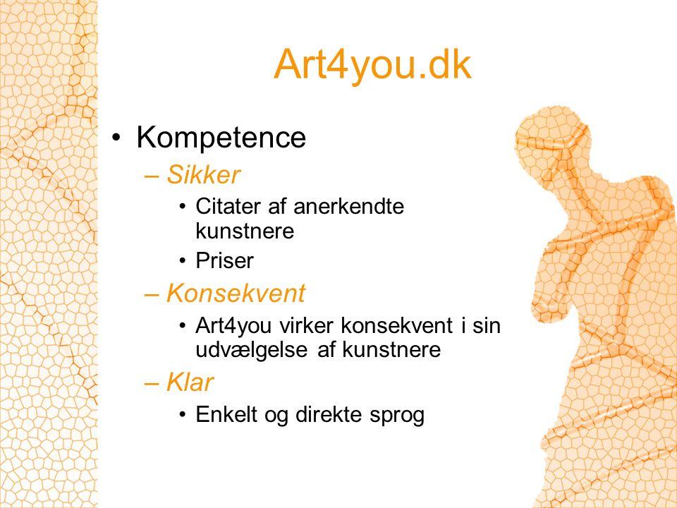 Art4you.dk Kompetence –Sikker Citater af anerkendte kunstnere Priser –Konsekvent Art4you virker konsekvent i sin udvælgelse af kunstnere –Klar Enkelt og direkte sprog