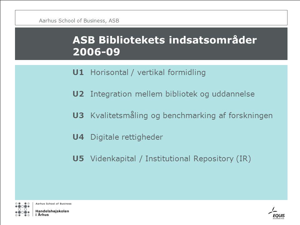 ASB Bibliotekets indsatsområder 2006-09 U1Horisontal / vertikal formidling U2Integration mellem bibliotek og uddannelse U3Kvalitetsmåling og benchmarking af forskningen U4Digitale rettigheder U5Videnkapital / Institutional Repository (IR)