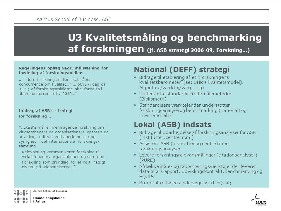 Aarhus School of Business, ASB U3 Kvalitetsmåling og benchmarking af forskningen (jf.