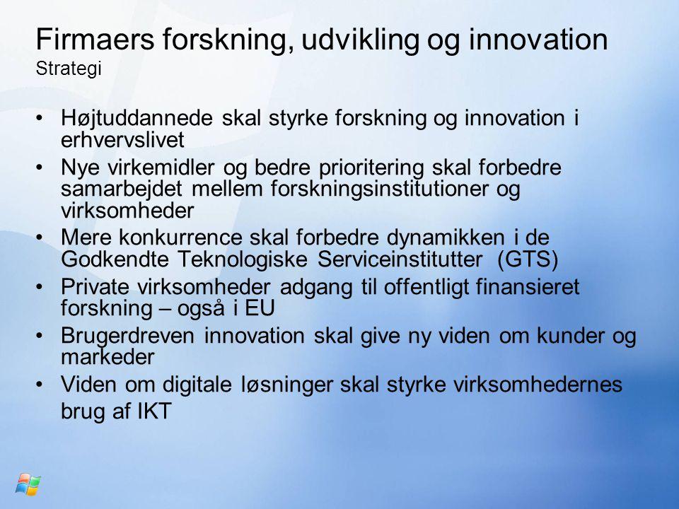 Firmaers forskning, udvikling og innovation Strategi Højtuddannede skal styrke forskning og innovation i erhvervslivet Nye virkemidler og bedre prioritering skal forbedre samarbejdet mellem forskningsinstitutioner og virksomheder Mere konkurrence skal forbedre dynamikken i de Godkendte Teknologiske Serviceinstitutter (GTS) Private virksomheder adgang til offentligt finansieret forskning – også i EU Brugerdreven innovation skal give ny viden om kunder og markeder Viden om digitale løsninger skal styrke virksomhedernes brug af IKT