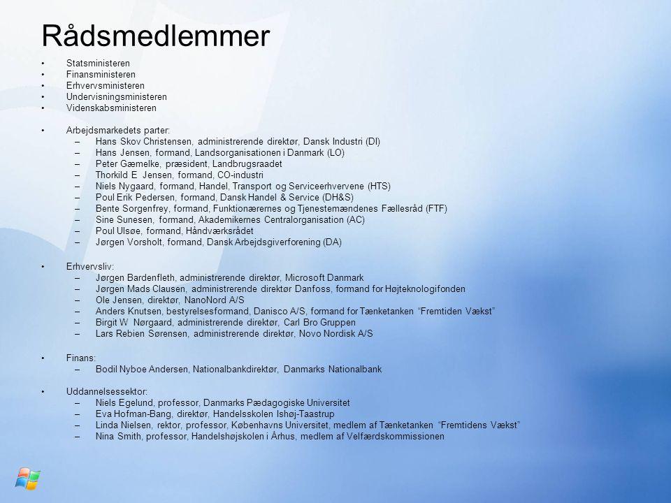 Rådsmedlemmer Statsministeren Finansministeren Erhvervsministeren Undervisningsministeren Videnskabsministeren Arbejdsmarkedets parter: –Hans Skov Christensen, administrerende direktør, Dansk Industri (DI) –Hans Jensen, formand, Landsorganisationen i Danmark (LO) –Peter Gæmelke, præsident, Landbrugsraadet –Thorkild E Jensen, formand, CO-industri –Niels Nygaard, formand, Handel, Transport og Serviceerhvervene (HTS) –Poul Erik Pedersen, formand, Dansk Handel & Service (DH&S) –Bente Sorgenfrey, formand, Funktionærernes og Tjenestemændenes Fællesråd (FTF) –Sine Sunesen, formand, Akademikernes Centralorganisation (AC) –Poul Ulsøe, formand, Håndværksrådet –Jørgen Vorsholt, formand, Dansk Arbejdsgiverforening (DA) Erhvervsliv: –Jørgen Bardenfleth, administrerende direktør, Microsoft Danmark –Jørgen Mads Clausen, administrerende direktør Danfoss, formand for Højteknologifonden –Ole Jensen, direktør, NanoNord A/S –Anders Knutsen, bestyrelsesformand, Danisco A/S, formand for Tænketanken Fremtiden Vækst –Birgit W Nørgaard, administrerende direktør, Carl Bro Gruppen –Lars Rebien Sørensen, administrerende direktør, Novo Nordisk A/S Finans: –Bodil Nyboe Andersen, Nationalbankdirektør, Danmarks Nationalbank Uddannelsessektor: –Niels Egelund, professor, Danmarks Pædagogiske Universitet –Eva Hofman-Bang, direktør, Handelsskolen Ishøj-Taastrup –Linda Nielsen, rektor, professor, Københavns Universitet, medlem af Tænketanken Fremtidens Vækst –Nina Smith, professor, Handelshøjskolen i Århus, medlem af Velfærdskommissionen