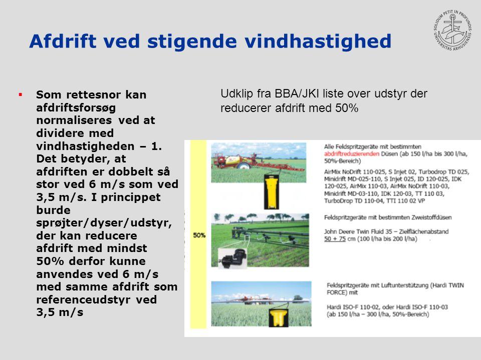 Afdrift ved stigende vindhastighed  Som rettesnor kan afdriftsforsøg normaliseres ved at dividere med vindhastigheden – 1.