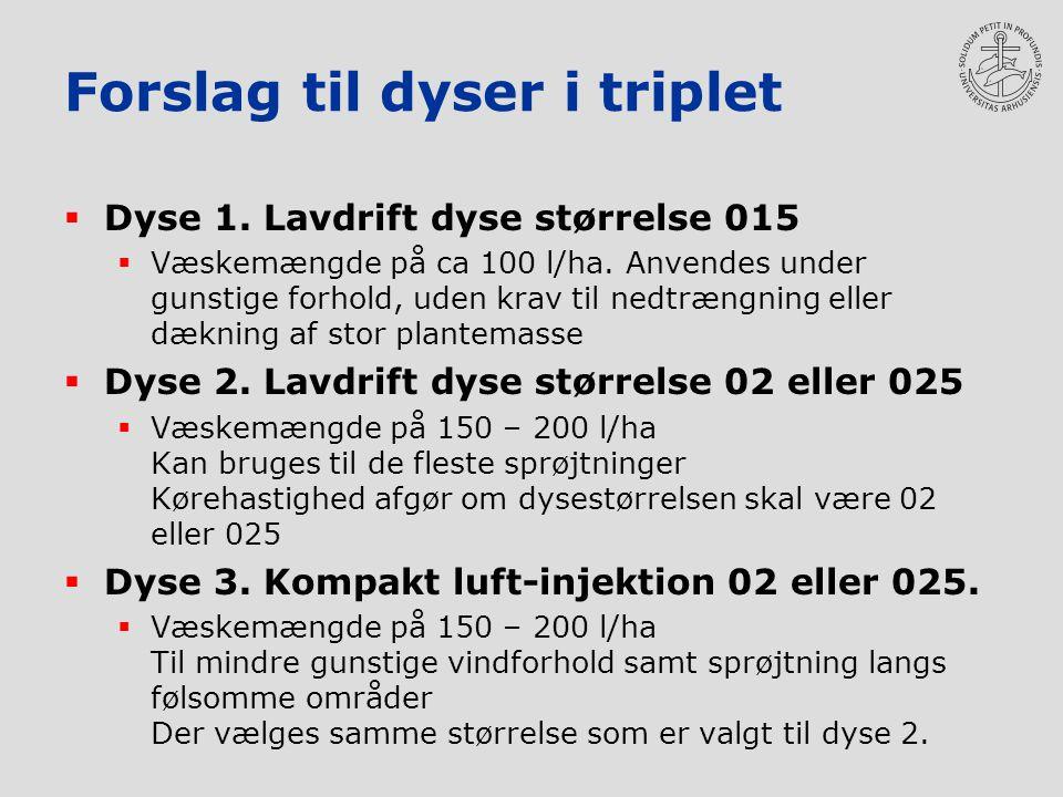 Forslag til dyser i triplet  Dyse 1. Lavdrift dyse størrelse 015  Væskemængde på ca 100 l/ha.