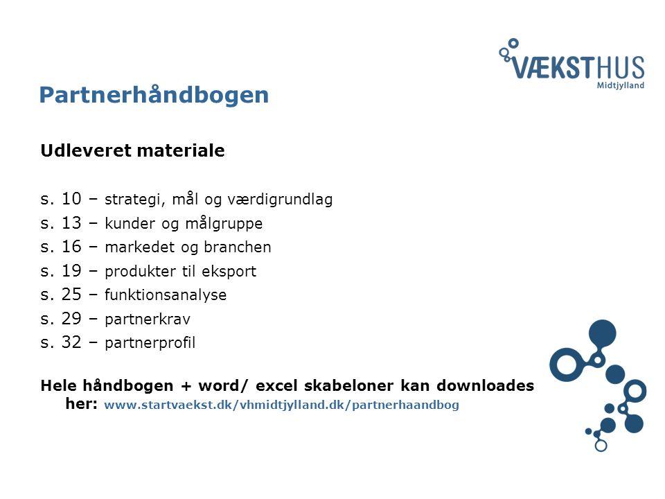Partnerhåndbogen Udleveret materiale s. 10 – strategi, mål og værdigrundlag s.