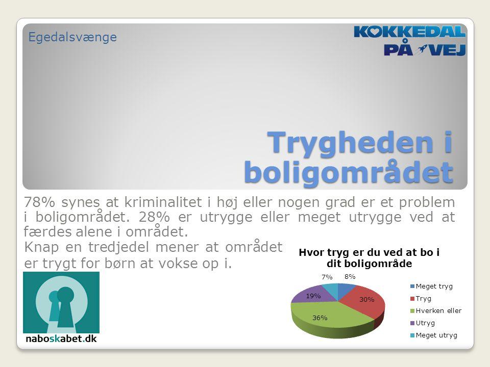 78% synes at kriminalitet i høj eller nogen grad er et problem i boligområdet.