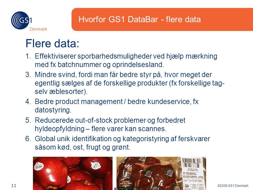 ©2006 GS1 Denmark 11 Denmark Hvorfor GS1 DataBar - flere data Flere data: 1.Effektiviserer sporbarhedsmuligheder ved hjælp mærkning med fx batchnummer og oprindelsesland.