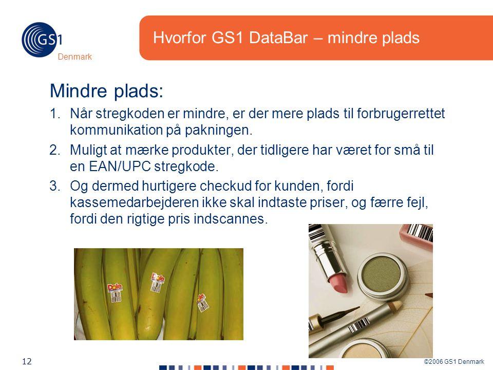 ©2006 GS1 Denmark 12 Denmark Hvorfor GS1 DataBar – mindre plads Mindre plads: 1.Når stregkoden er mindre, er der mere plads til forbrugerrettet kommunikation på pakningen.