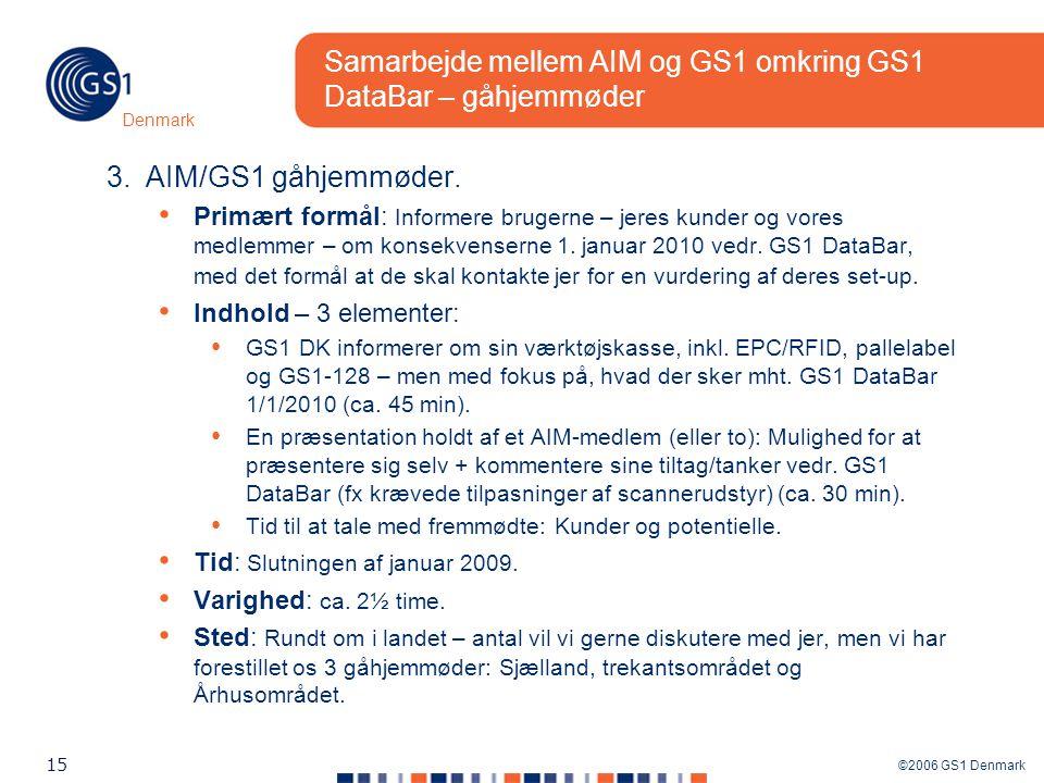 ©2006 GS1 Denmark 15 Denmark Samarbejde mellem AIM og GS1 omkring GS1 DataBar – gåhjemmøder 3.AIM/GS1 gåhjemmøder.