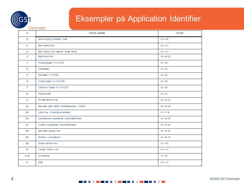 ©2006 GS1 Denmark 4 Denmark Eksempler på Application Identifier AIIndhold i datafeltFormat 00Serial Shipping Container Coden2 + n18 01EAN-varenummern2 + n14 02EAN-varenummer indeholdt i anden enhedn2 + n14 10Batch/lotnummern2 + an..20 11Produktionsdato (YYMMDD)n2 + n6 12Forfaldsdaton2 + n6 13Pakkedato (YYMMDD)n2 + n6 15Mindst holdbar til (YYMMDD)n2 + n6 17Maksimum holdbar til (YYMMDD)n2 + n6 20Produktvariantn2 + n2 21Primært serienummern2 + an..20 22Sekundær data indenfor sundhedssektoren (HIBCC)n2 + an..29 23nLotnummer (midlertidig anvendelse)n3 + n..19 240Leverandørens supplerende produktidentifikationn3 + an..30 241Kundens supplerende produktidentifikationn3 + an..30 250Sekundært serienummern3 + an..30 251Enkeltdyr – øremærke nr.n3 + an..30 252Globalt serienummern3 + n27 30Variabel indhold (i stk.)n2 + n..8 31-36Dimensionern4 + n6 37Antaln2 + n..8