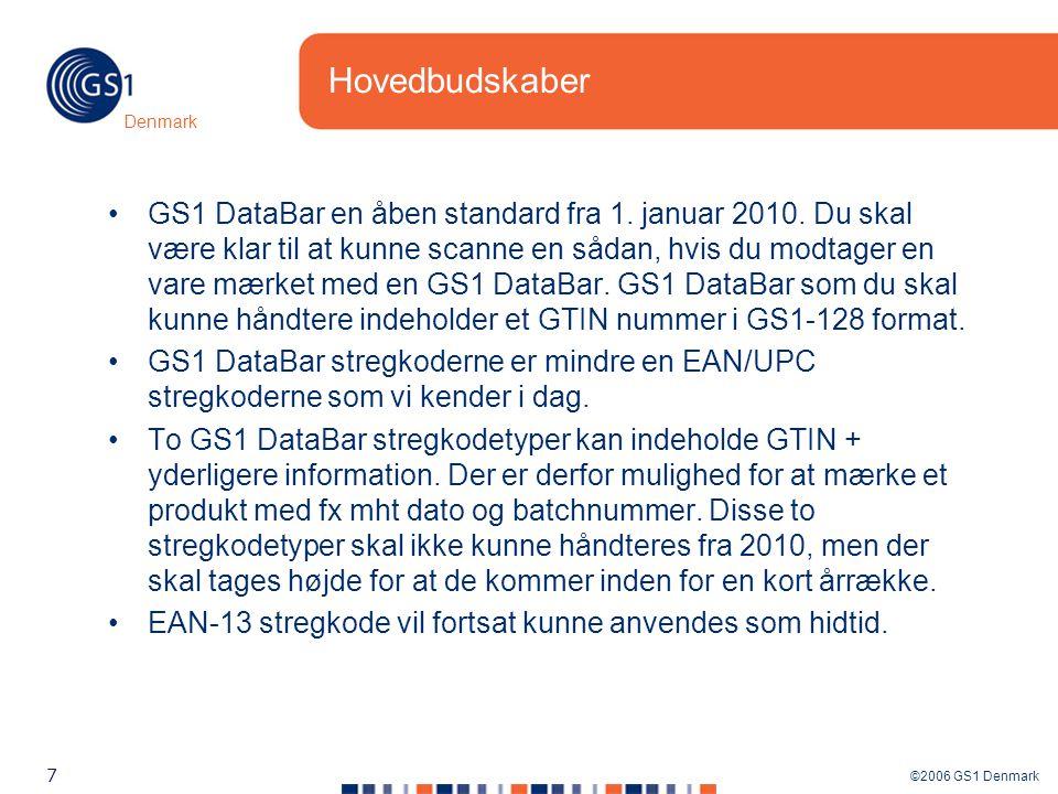 ©2006 GS1 Denmark 7 Denmark Hovedbudskaber GS1 DataBar en åben standard fra 1.
