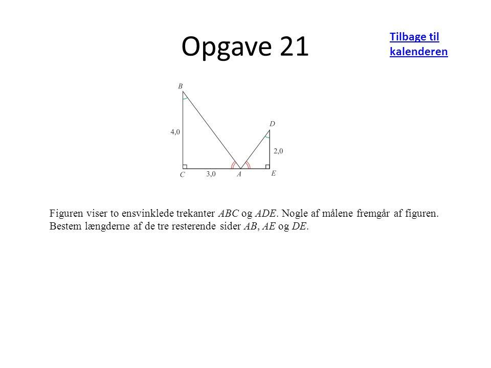 Opgave 21 Tilbage til kalenderen Figuren viser to ensvinklede trekanter ABC og ADE.