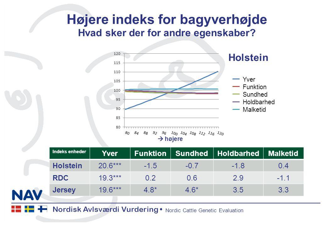 Nordisk Avlsværdi Vurdering Nordic Cattle Genetic Evaluation Højere indeks for bagyverhøjde Hvad sker der for andre egenskaber.