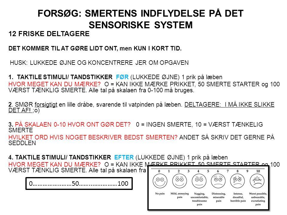 FORSØG: SMERTENS INDFLYDELSE PÅ DET SENSORISKE SYSTEM 12 FRISKE DELTAGERE DET KOMMER TIL AT GØRE LIDT ONT, men KUN I KORT TID.