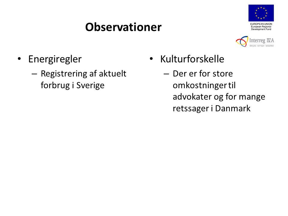 Observationer Energiregler – Registrering af aktuelt forbrug i Sverige Kulturforskelle – Der er for store omkostninger til advokater og for mange retssager i Danmark