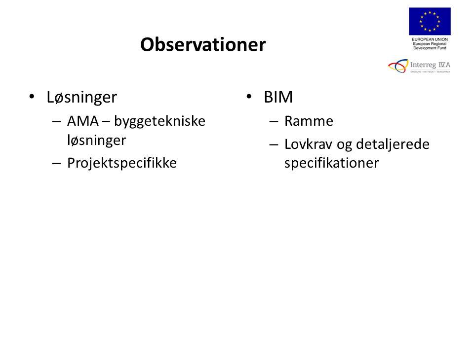 Løsninger – AMA – byggetekniske løsninger – Projektspecifikke BIM – Ramme – Lovkrav og detaljerede specifikationer Observationer