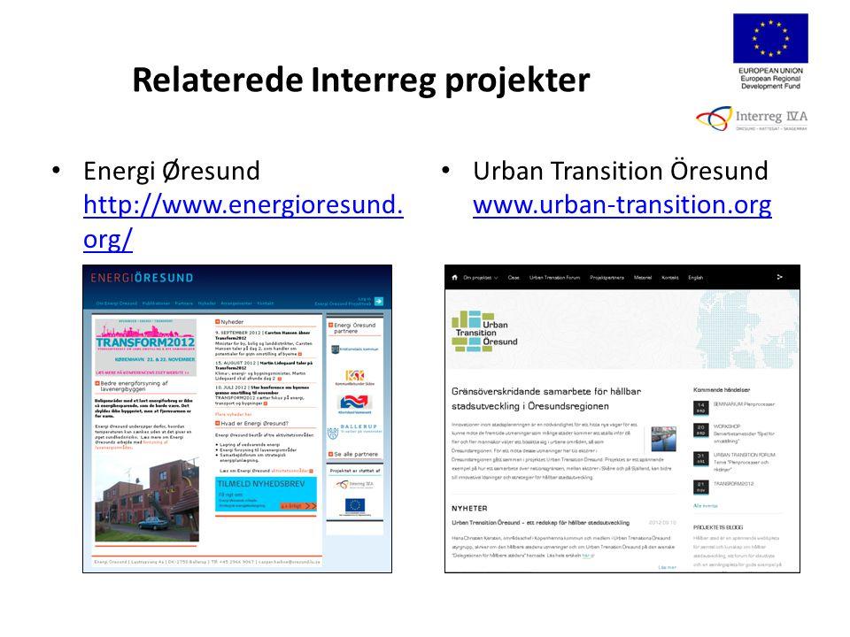 Relaterede Interreg projekter Energi Øresund http://www.energioresund.