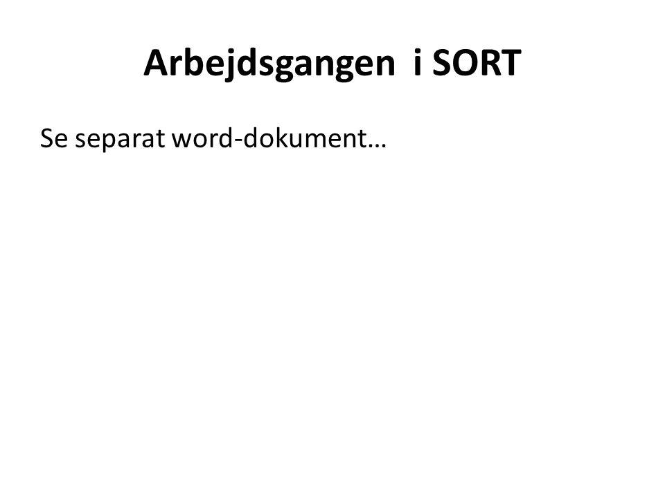 Arbejdsgangen i SORT Se separat word-dokument…