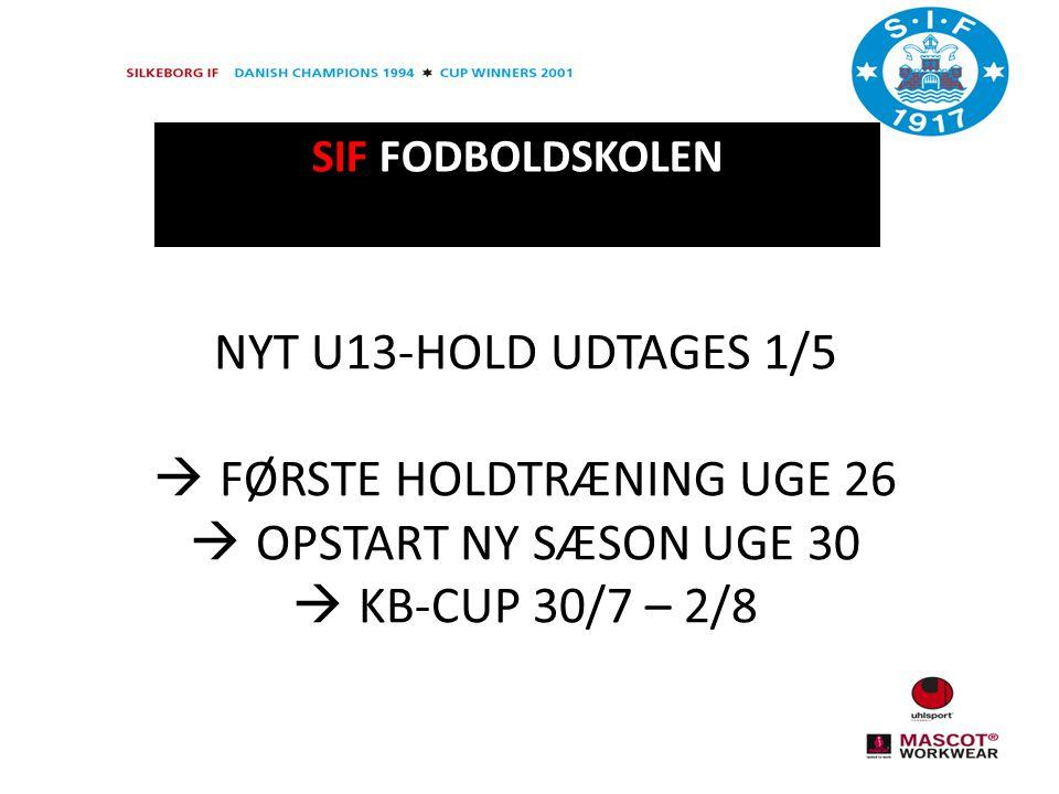 SIF FODBOLDSKOLEN NYT U13-HOLD UDTAGES 1/5  FØRSTE HOLDTRÆNING UGE 26  OPSTART NY SÆSON UGE 30  KB-CUP 30/7 – 2/8