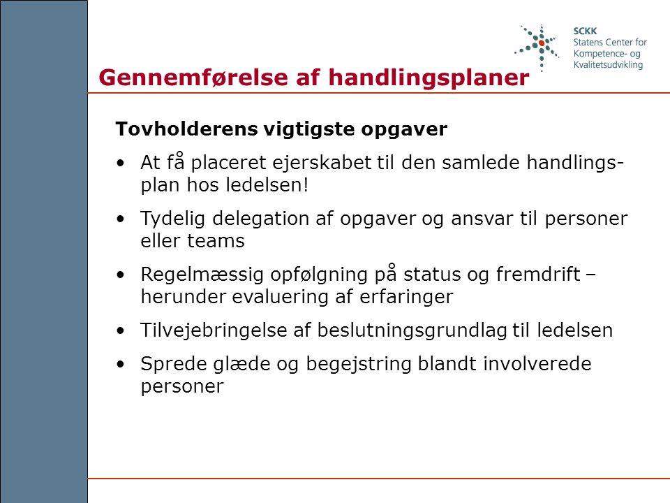 Gennemførelse af handlingsplaner Tovholderens vigtigste opgaver At få placeret ejerskabet til den samlede handlings- plan hos ledelsen.
