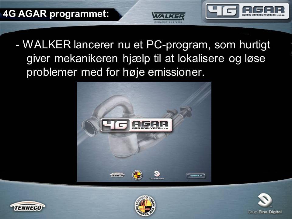 - WALKER lancerer nu et PC-program, som hurtigt giver mekanikeren hjælp til at lokalisere og løse problemer med for høje emissioner.