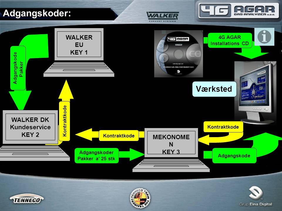 Adgangskoder: WALKER EU KEY 1 WALKER DK Kundeservice KEY 2 MEKONOME N KEY 3 Adgangskode Adgangskoder Pakker a' 25 stk Adgangskode Pakker 4G AGAR Installations CD Kontraktkode Værksted