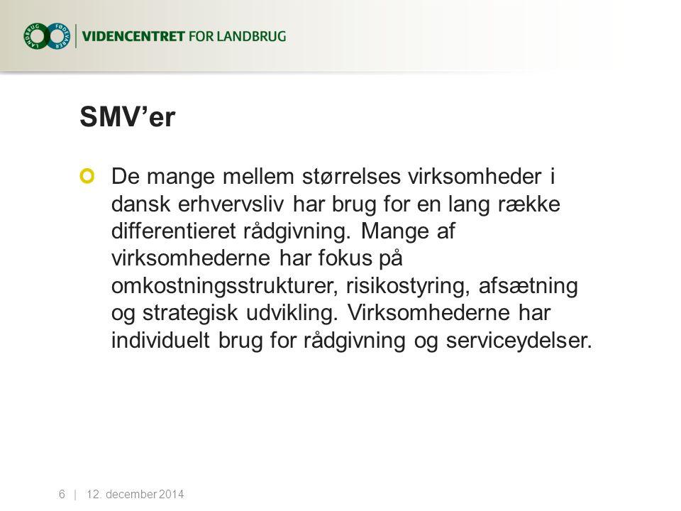 SMV'er De mange mellem størrelses virksomheder i dansk erhvervsliv har brug for en lang række differentieret rådgivning.