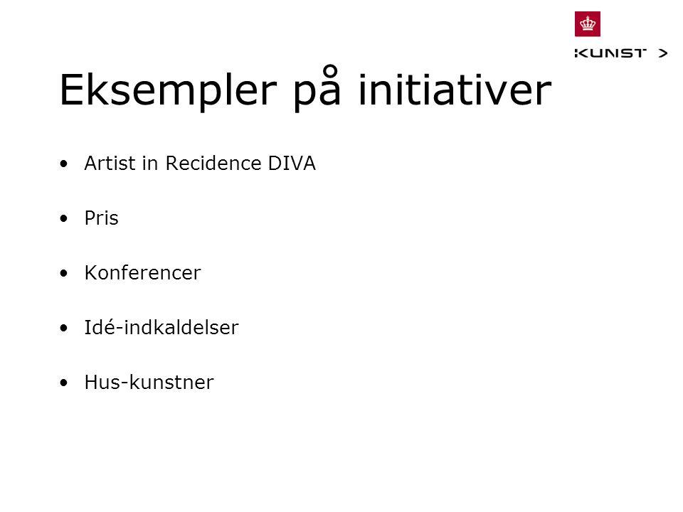 Eksempler på initiativer Artist in Recidence DIVA Pris Konferencer Idé-indkaldelser Hus-kunstner