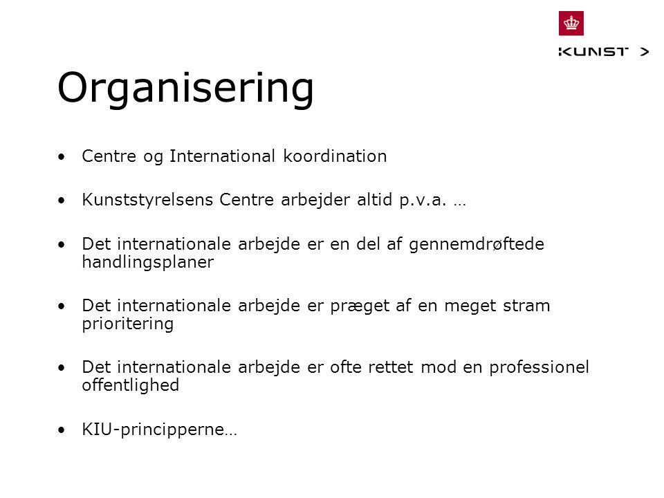 Organisering Centre og International koordination Kunststyrelsens Centre arbejder altid p.v.a.