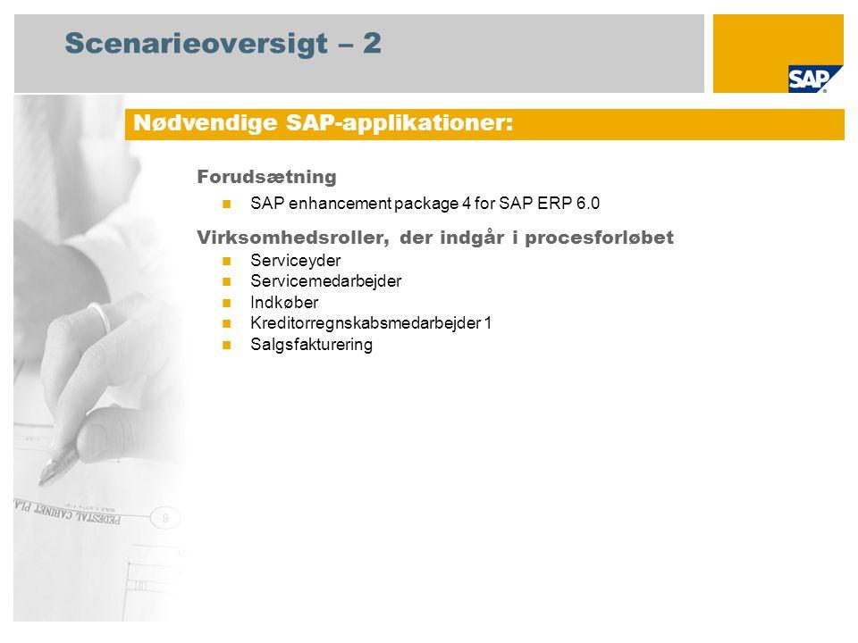 Scenarieoversigt – 2 Forudsætning SAP enhancement package 4 for SAP ERP 6.0 Virksomhedsroller, der indgår i procesforløbet Serviceyder Servicemedarbejder Indkøber Kreditorregnskabsmedarbejder 1 Salgsfakturering Nødvendige SAP-applikationer: