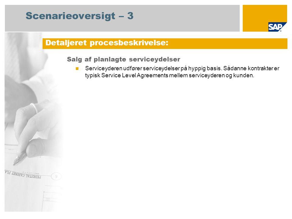 Scenarieoversigt – 3 Salg af planlagte serviceydelser Serviceyderen udfører serviceydelser på hyppig basis.
