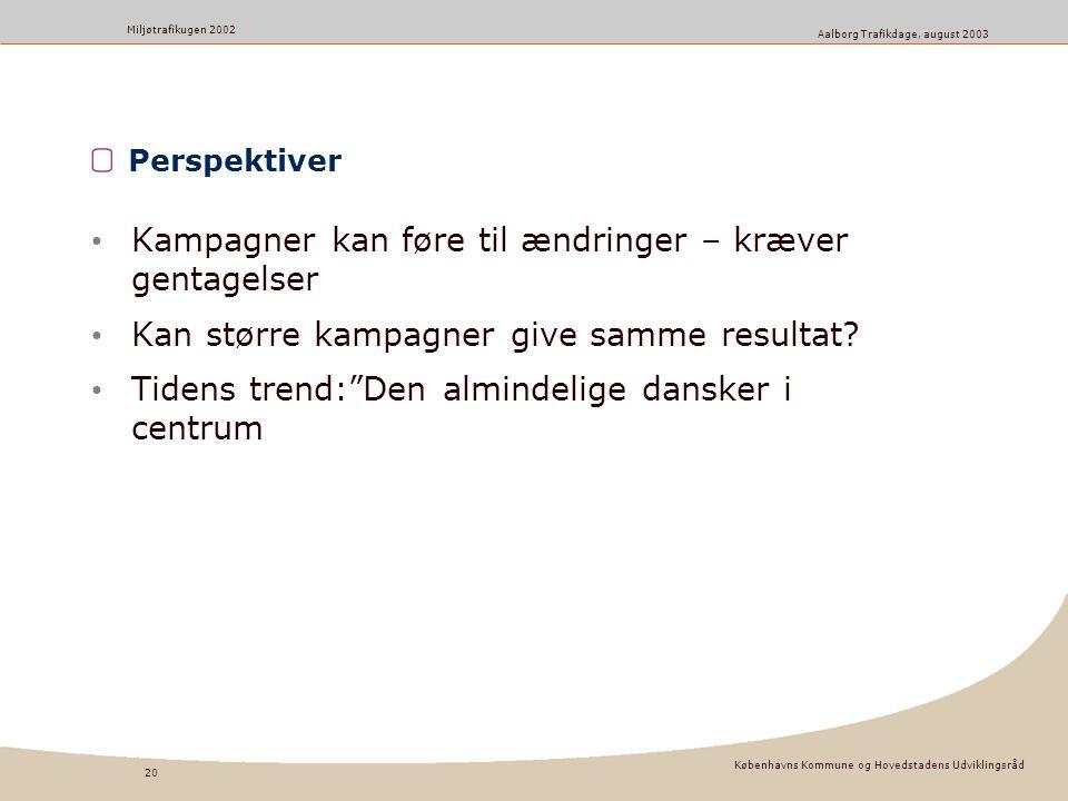 Københavns Kommune og Hovedstadens Udviklingsråd 20 Miljøtrafikugen 2002 Aalborg Trafikdage, august 2003 Perspektiver Kampagner kan føre til ændringer – kræver gentagelser Kan større kampagner give samme resultat.