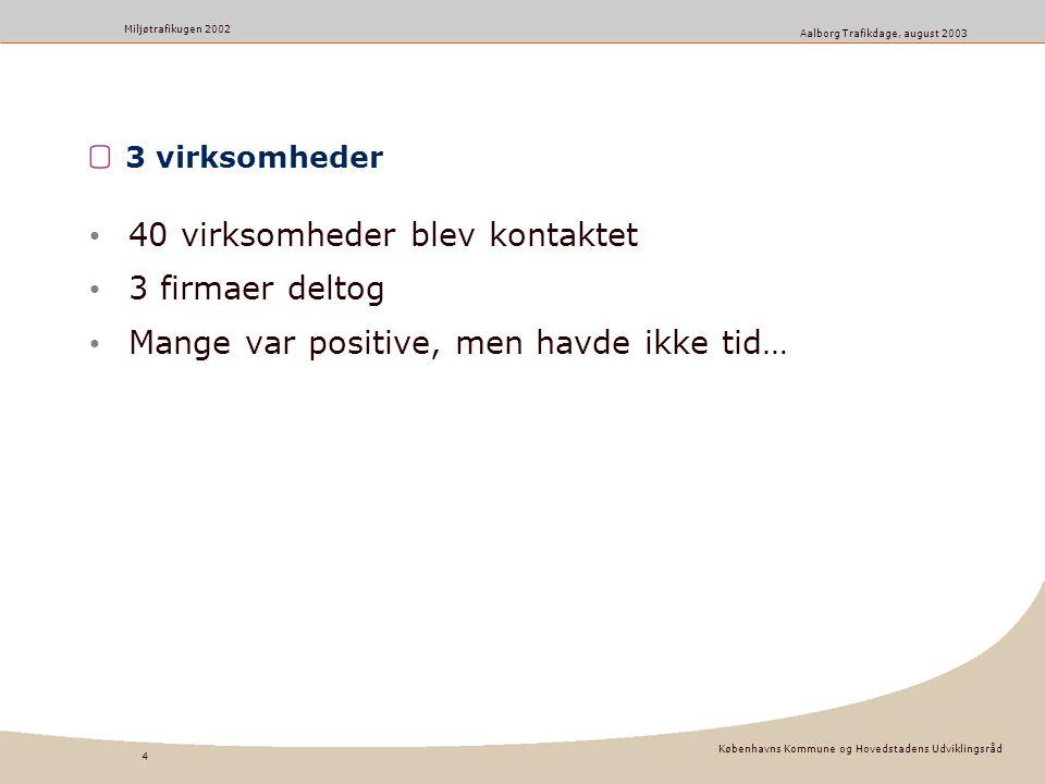 Københavns Kommune og Hovedstadens Udviklingsråd 4 Miljøtrafikugen 2002 Aalborg Trafikdage, august 2003 3 virksomheder 40 virksomheder blev kontaktet 3 firmaer deltog Mange var positive, men havde ikke tid…