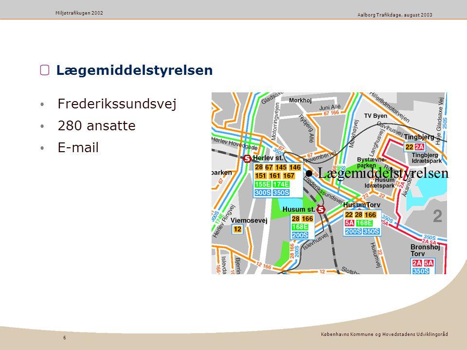 Københavns Kommune og Hovedstadens Udviklingsråd 6 Miljøtrafikugen 2002 Aalborg Trafikdage, august 2003 Lægemiddelstyrelsen Frederikssundsvej 280 ansatte E-mail ● Lægemiddelstyrelsen