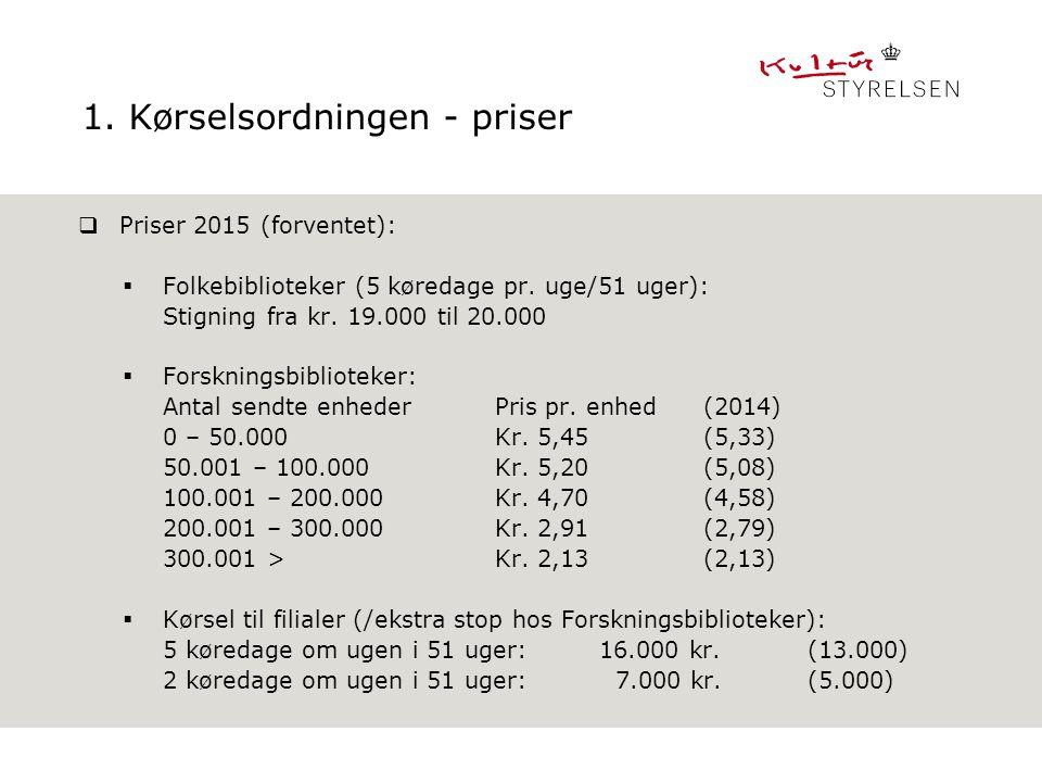 1. Kørselsordningen - priser  Priser 2015 (forventet):  Folkebiblioteker (5 køredage pr.