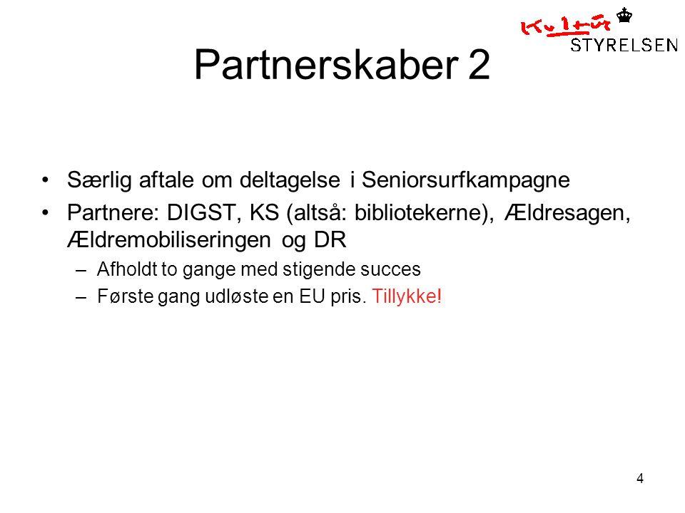 4 Partnerskaber 2 Særlig aftale om deltagelse i Seniorsurfkampagne Partnere: DIGST, KS (altså: bibliotekerne), Ældresagen, Ældremobiliseringen og DR –Afholdt to gange med stigende succes –Første gang udløste en EU pris.