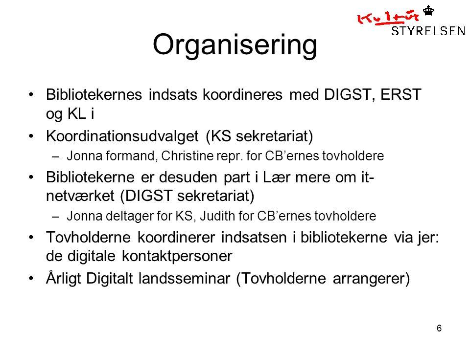 6 Organisering Bibliotekernes indsats koordineres med DIGST, ERST og KL i Koordinationsudvalget (KS sekretariat) –Jonna formand, Christine repr.