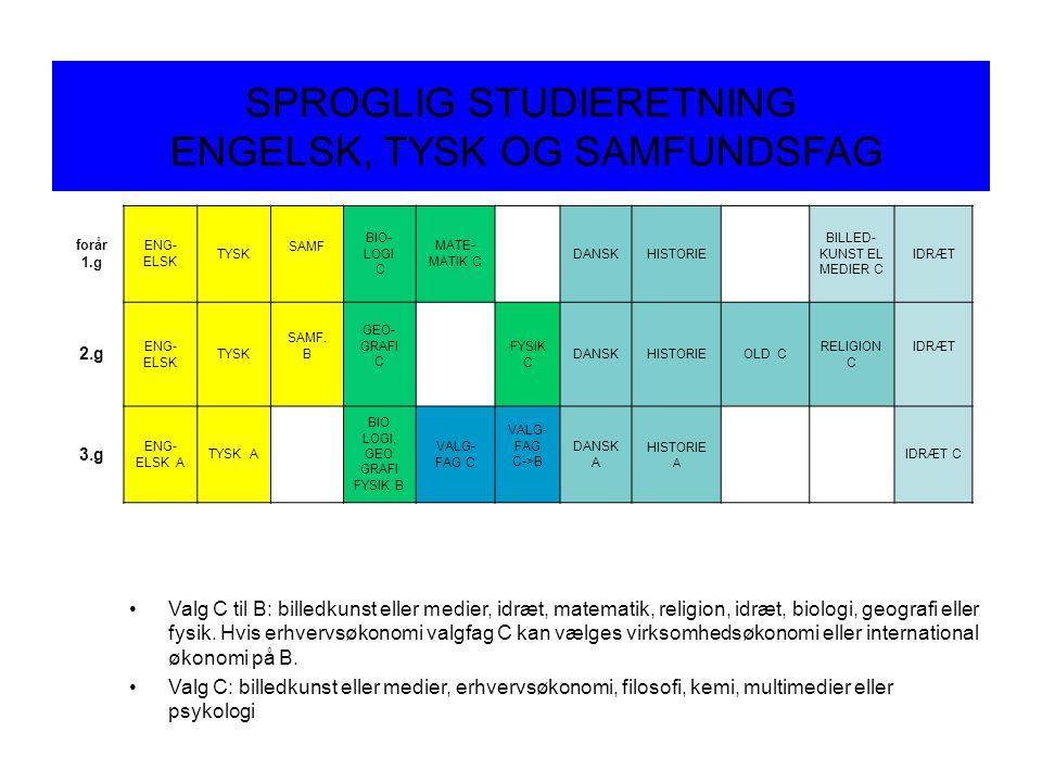 SPROGLIG STUDIERETNING ENGELSK, TYSK OG SAMFUNDSFAG forår 1.g ENG- ELSK TYSK SAMF BIO- LOGI C MATE- MATIK C DANSKHISTORIE BILLED- KUNST EL MEDIER C IDRÆT 2.g ENG- ELSK TYSK SAMF.