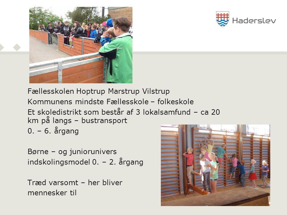 Fællesskolen Hoptrup Marstrup Vilstrup Kommunens mindste Fællesskole – folkeskole Et skoledistrikt som består af 3 lokalsamfund – ca 20 km på langs – bustransport 0.