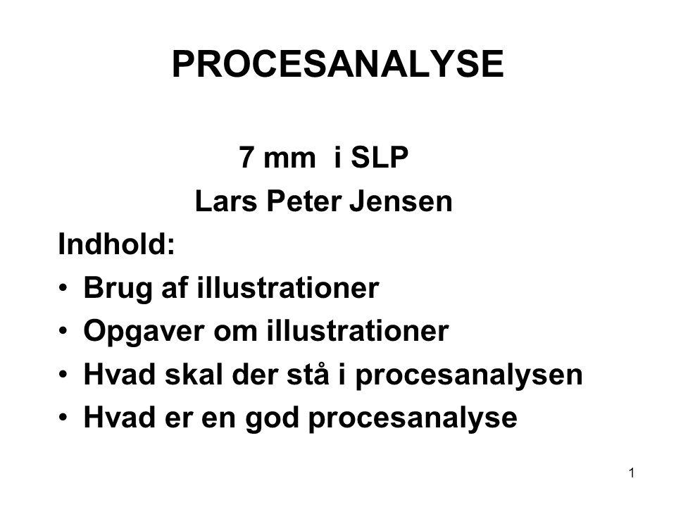 1 PROCESANALYSE 7 mm i SLP Lars Peter Jensen Indhold: Brug af illustrationer Opgaver om illustrationer Hvad skal der stå i procesanalysen Hvad er en g