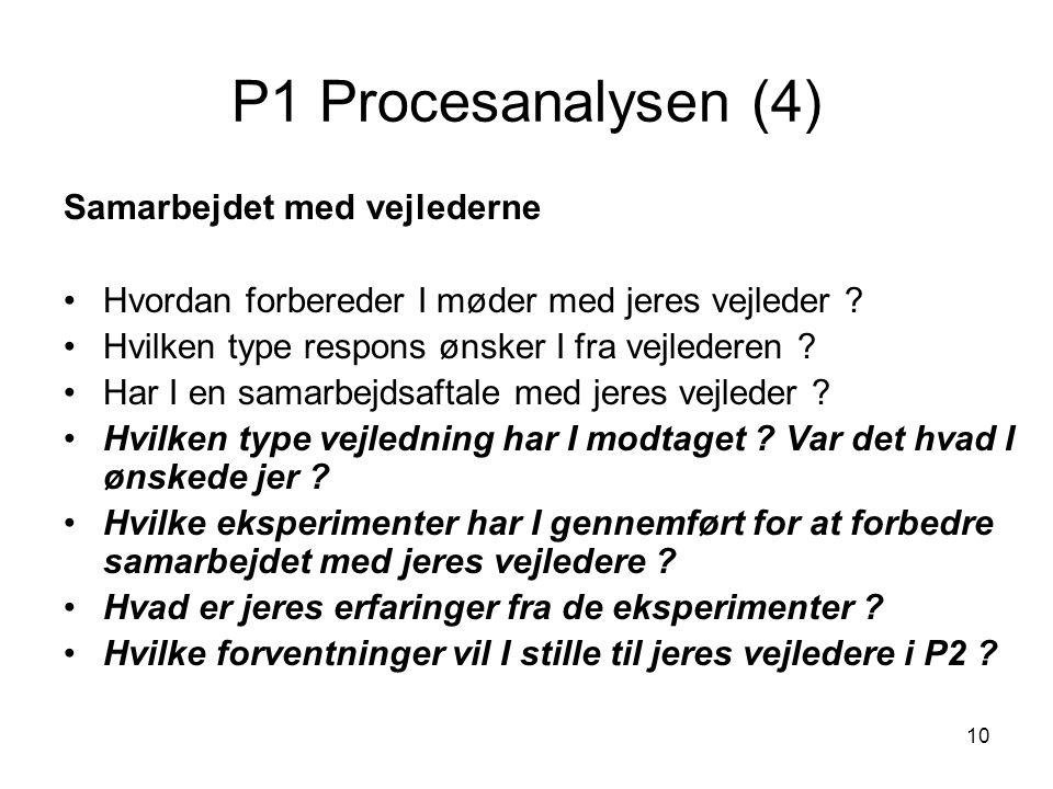 10 P1 Procesanalysen (4) Samarbejdet med vejlederne Hvordan forbereder I møder med jeres vejleder ? Hvilken type respons ønsker I fra vejlederen ? Har