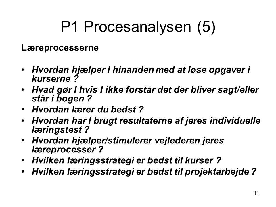 11 P1 Procesanalysen (5) Læreprocesserne Hvordan hjælper I hinanden med at løse opgaver i kurserne ? Hvad gør I hvis I ikke forstår det der bliver sag