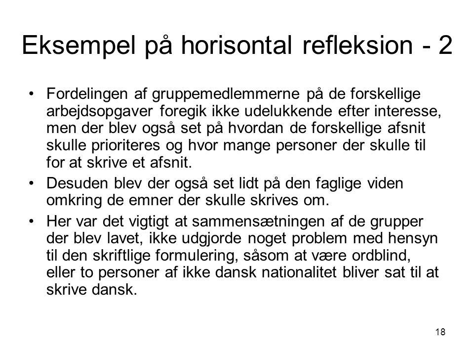18 Eksempel på horisontal refleksion - 2 Fordelingen af gruppemedlemmerne på de forskellige arbejdsopgaver foregik ikke udelukkende efter interesse, m