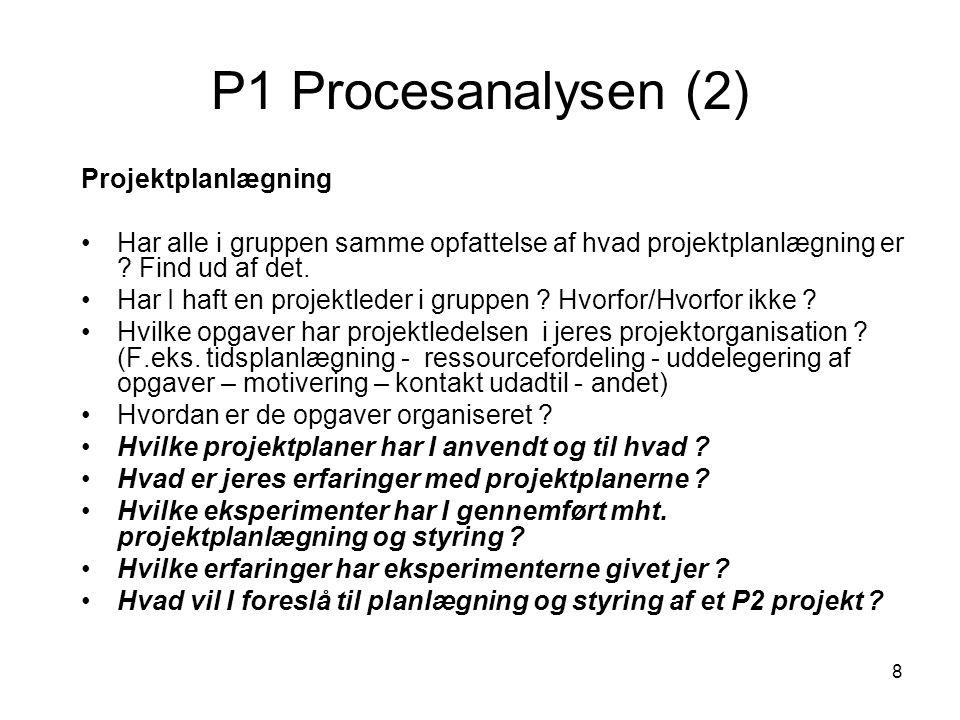 8 P1 Procesanalysen (2) Projektplanlægning Har alle i gruppen samme opfattelse af hvad projektplanlægning er ? Find ud af det. Har I haft en projektle